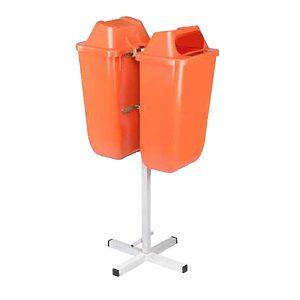 سطل زباله پارکی - شهری 50 لیتری دو قلو -کد 4302