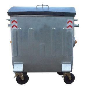 مخزن زباله گالوانیزه 770 لیتری قوس دار ورق 1.5 با درب فلزی بارانی ریلی- کد A4106