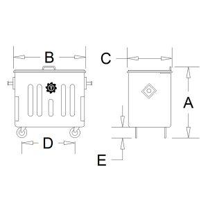 مخزن زباله گالوانیزه 660 لیتری چهارگوش با ورق 1.5 با درب - کد P4711