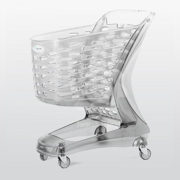 چرخ خرید فروشگاهی 90 لیتری پلی کربنات شفاف - کد 3511