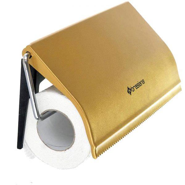 جا دستمال کاغذی حوله ای استیل طلایی Brasiana مدل BRH-131