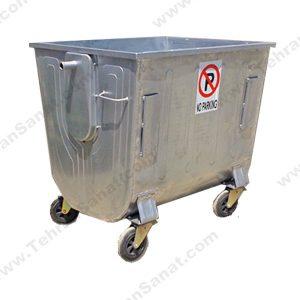 مخزن زباله گالوانیزه 1100 لیتری قوس دار ورق 1.5 بدون درب - کد A4104