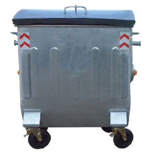مخزن زباله گالوانیزه 1100 لیتری قوس دار ورق 1.5 با درب فلزی بارانی ریلی - کد A4104