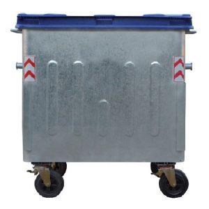 مخزن زباله گالوانیزه 1100 لیتری چهار گوش ورق 2 با درب پلاستیکی- کد A4105