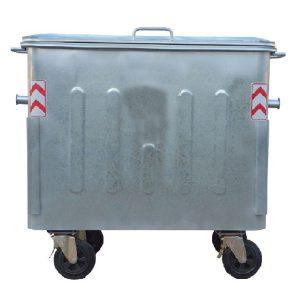 مخزن زباله گالوانیزه 1100 لیتری چهار گوش با ورق 2 با درب فلزی- کد A4105