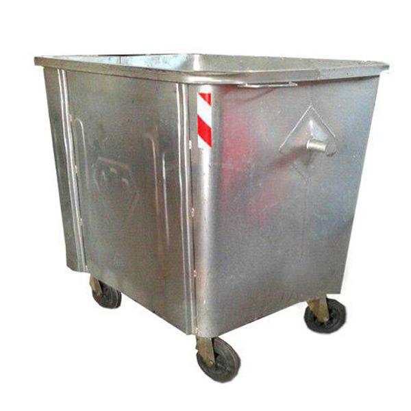مخزن زباله گالوانیزه 1100 لیتری چهار گوش با ورق 2 بدون درب- کد A4105