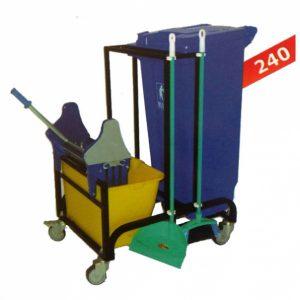 ترالی نظافت (تی شوی تک مخزن، سطل زباله)240- کد 808