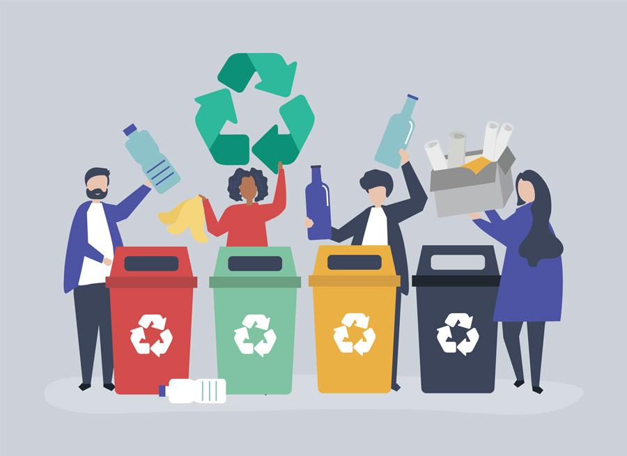 رنگبندی سطل های تفکیک زباله