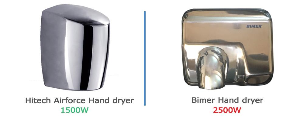 مقایسه دست خشک کن 2500 وات بیمر و دست خشک کن جت Airforce هایتک
