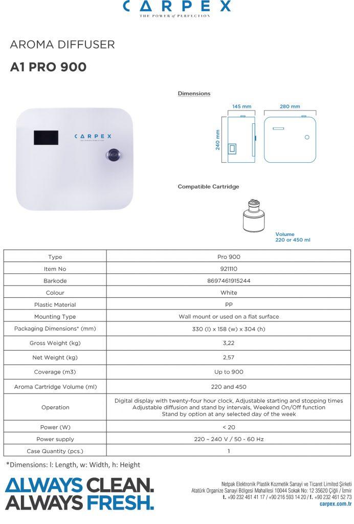 مشخصات فنی دستگاه خوشبو کننده A1 Pro 900
