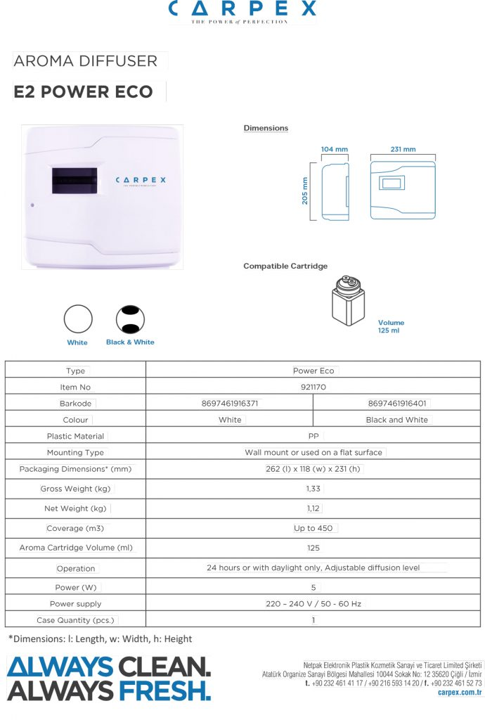Aroma-Diffuser-E2-Power-Eco-مشخصات-فنی-
