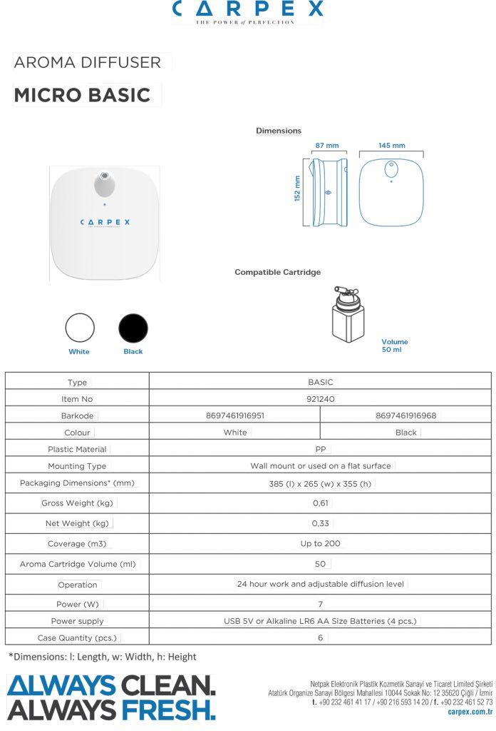 مشخصات فنی دستگاه خوشبو کننده میکرو
